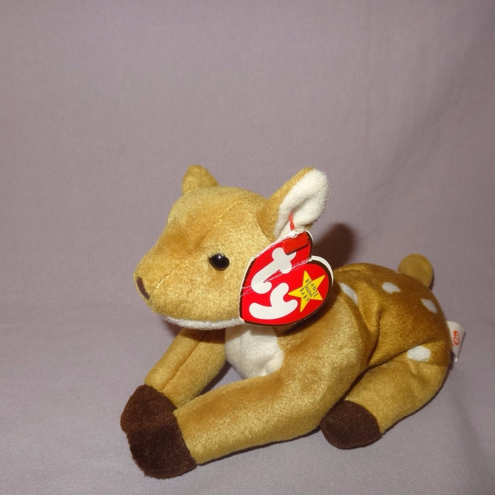 "Whisper Deer Fawn Ty Beanie Baby Plush Stuffed Animal Toy 1997 Tush tag 1998 4"""