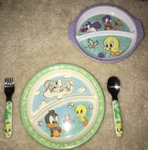 Child melamine Divided Plates Fork Spoon BABY Bugs Tweetie Sylvester Loo... - $21.77
