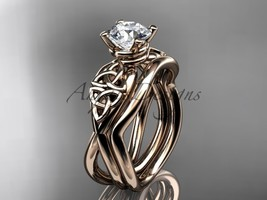 Celtic engagement ring set, 14kt rose gold celtic trinity knot engagement set CT - $1,050.00