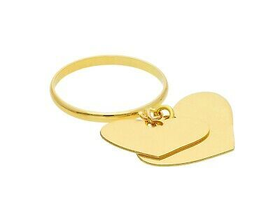 18K YELLOW GOLD RING WITH 2 HEART PENDANT CHARMS BRIGHT, LUMINOUS, MADE IN ITALY