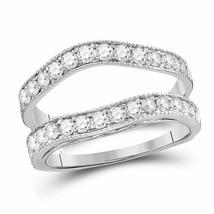 14kt White Gold Womens Round Diamond Milgrain Wrap Ring Guard Enhancer 1... - $1,078.70