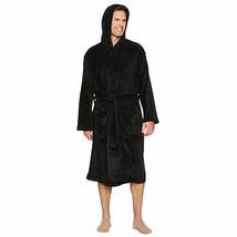 NWT Mens Gents Full Length hooded PLUSH Bathrobe black Robe  one size - $49.49