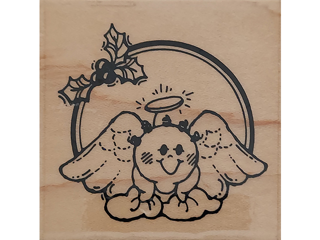 Stampendous 1990 Holly Angel Wood Mounted Rubber Stamp #D61