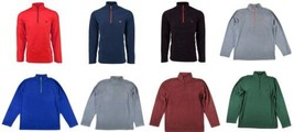 Men's CHAPS 1/2 Zip Pullover Brushed Fleece Shirt Solid Colors NEW