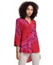 Benares Michelle Button Down Shirt - Long Sleeve Viscose Shirt, Red, Medium