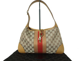 Authentic GUCCI GG Pattern Canvas, Leather Browns Shoulder Bag GS10392L - $179.00