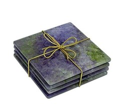 """Sand and Water Creations Hand Painted Glass Coaster Set of 4 Non-Slip 4""""... - $48.00"""