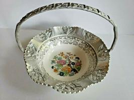 Vintage FARBER & SHLEVIN Candy Bowl Basket Dish FINE CHINA ALUMINUM - $32.99