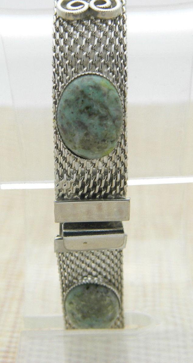 Teal Green Brown Agate Stone Heart Silver Tone Bracelet Vintage