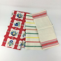 Lot Of 3 VTG Linen Kitchen Towels Red Green Blue Fiesta Floral 40s 50s S... - $28.70