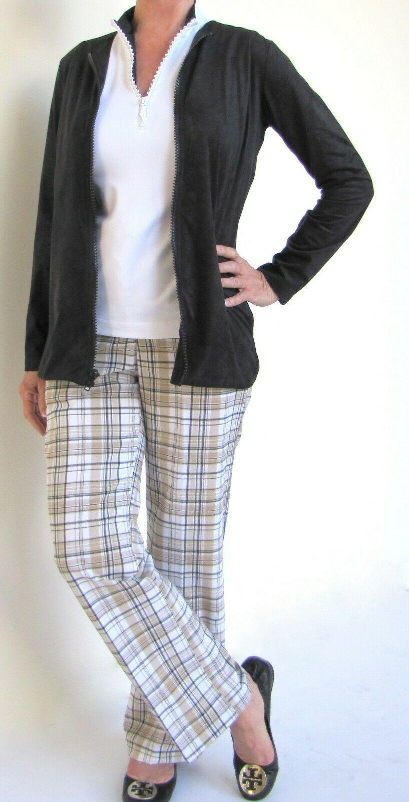 Stylish Women's Golf & Resort Black Long Sleeve Collar Top, Swarovski Buttons  image 7