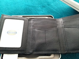 fossil trifold wallet black genuine leather with window image 2