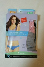 Hanes Womens Sz 5 Premium 5 Pair Luxuriously Soft Tagless Cool & Comfort... - $14.62