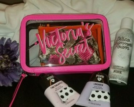 Victoria's Secret Makeup Beauty Bag 3 Pc Set Neon Python Pink + 2 body cream  - $37.64