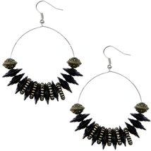 Black Large Disk Hoop Earrings - $13.80
