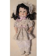 """Ceramic Doll - White Dress & Bonnet & Pink Ribbon - 11"""" Tall  Arms & Leg... - $22.53"""