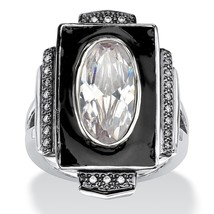 PalmBeach Jewelry 4.91 TCW Oval-Cut CZ Art-Deco Inspired Ring in Silvertone - $18.00