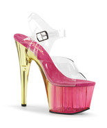 """PLEASER Adore-708MCT Series 7"""" Heel Ankle-Strap Sandal - Clear/Pink Tinted - $53.95"""