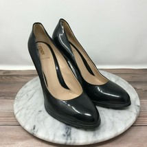 Fendi Black Patent Leather Gold Logo Heel Pointed Toe Pumps Womens Size 39/8.5 - $199.95