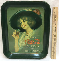 Coca Cola Tray Vintage Metal Green Victorian Woman Drinking Coke 11x13 - $18.80