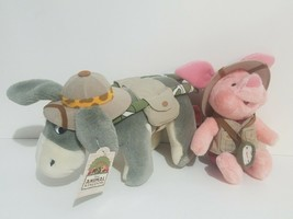 "Disney Parks Plush Safari Piglet 9"" Eeyore 7"" Stuffed Toys Animal Kingdo... - $19.39"