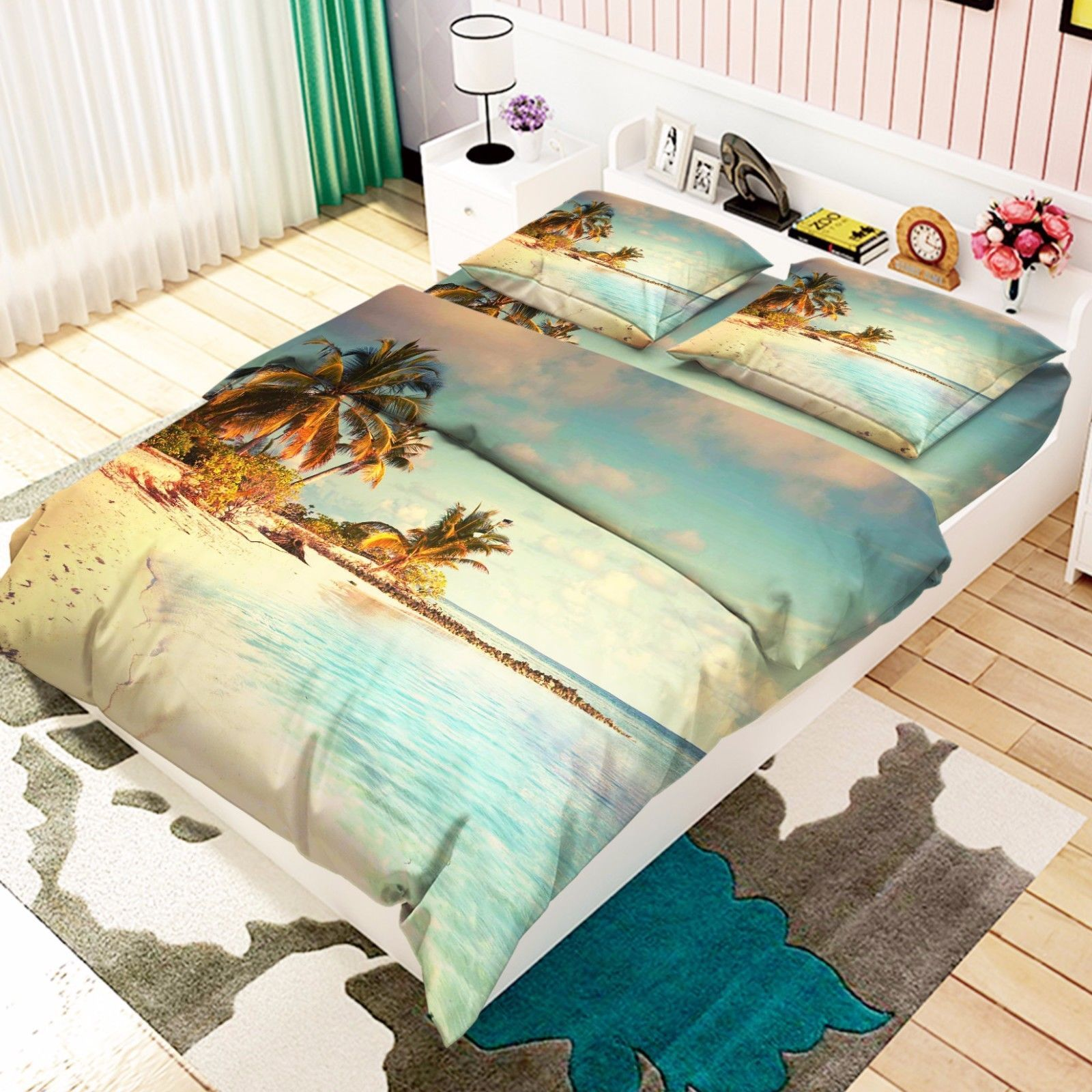 3D Green Forest Bed Pillowcases Quilt Duvet Cover Set Single Queen King Size AU