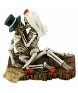 SUMMIT COLLECTION Love Never Dies Wedding Skeleton Couple Kissing Figurine Stat - £16.19 GBP