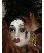 UNIQUE CREATIONS MARDI GRAS MASKED LADY FACE BROWN BLACK WALL HANGING DE... - $48.95