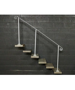 6 Foot Steel Stair Railing Handrail | Base Plate Posts | Iron Grab Rail - $190.00