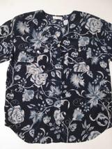 Liz Claiborne Women's Blouse Size 14 Floral Button Front Short Sleeve #W6 - $13.99