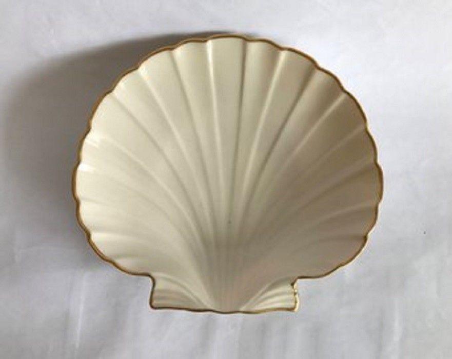 Vintage Lenox Porcelain Clam Shaped Dish 24 K Gold Trim Aegean Collection