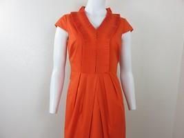 Tahari Orange Cotton Sheath Dress 4 Cap Sleeve Ruffle Neckline Belt Tie ... - $59.35