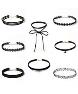 8Pc/set Sexy Black Gothic Punk Velvet Tattoo Lace Layered Charms Choker ... - $15.99