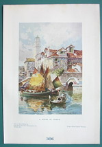 ITALY View in Venice Church Leaning Tower - 1901 Offset Litho Print COLOR - $7.27
