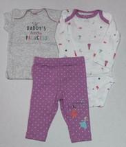 Carter's 3 Piece Set For Girls Daddy's Princess Size Newborn 3 6 9 or 12 Months - $15.00