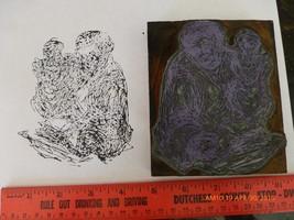 Vintage hand made stamp wooden metal art work people printing block Esta... - $6.90