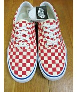 Vans Mens Era Pro Checkerboard Rococco Red White Canvas Skate shoes size... - $64.34