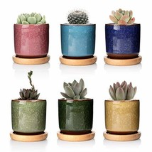 T4U 2.5 Inch Ceramic Ice Crack Zisha Raised Serial Sucuulent Plant Pot/C... - $19.96