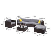 7 Pieces Patio PE Wicker Rattan Corner Sofa Set image 2