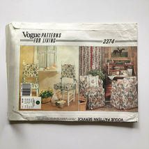 Vintage Vogue 2374 Chair Slip Covers Box Pleats Ruffles Piping Uncut Pattern FF image 4