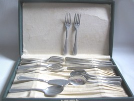 Vintage Doll's Tea Party Flatware 15 Pieces  Set Boxed  marked  Germany ... - $39.11