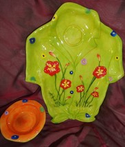 SHIRT shaped serving dish and sauce BOWL with flowers party - $12.86