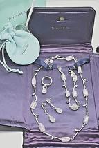 Tiffany Co Pink Rose Quartz Twirl Sterling Silver Suite Set Neck Brace E... - $1,440.44