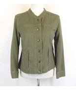 J. Jill Size M Petite PM Sage Green Cotton Jean Jacket - $29.99