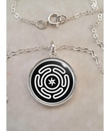 Sterling Silver 925 Pendant Necklace Hecate's wheel Strophalos Lunar God... - $30.20+