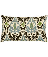 Pillow Decor - Linen Damask Print Blue Brown 12x20 Throw Pillow - $44.95