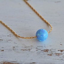 Blue Opal Ball Necklace 14k Gold Filled delicate Chain Opal Bead Necklac... - $44.78