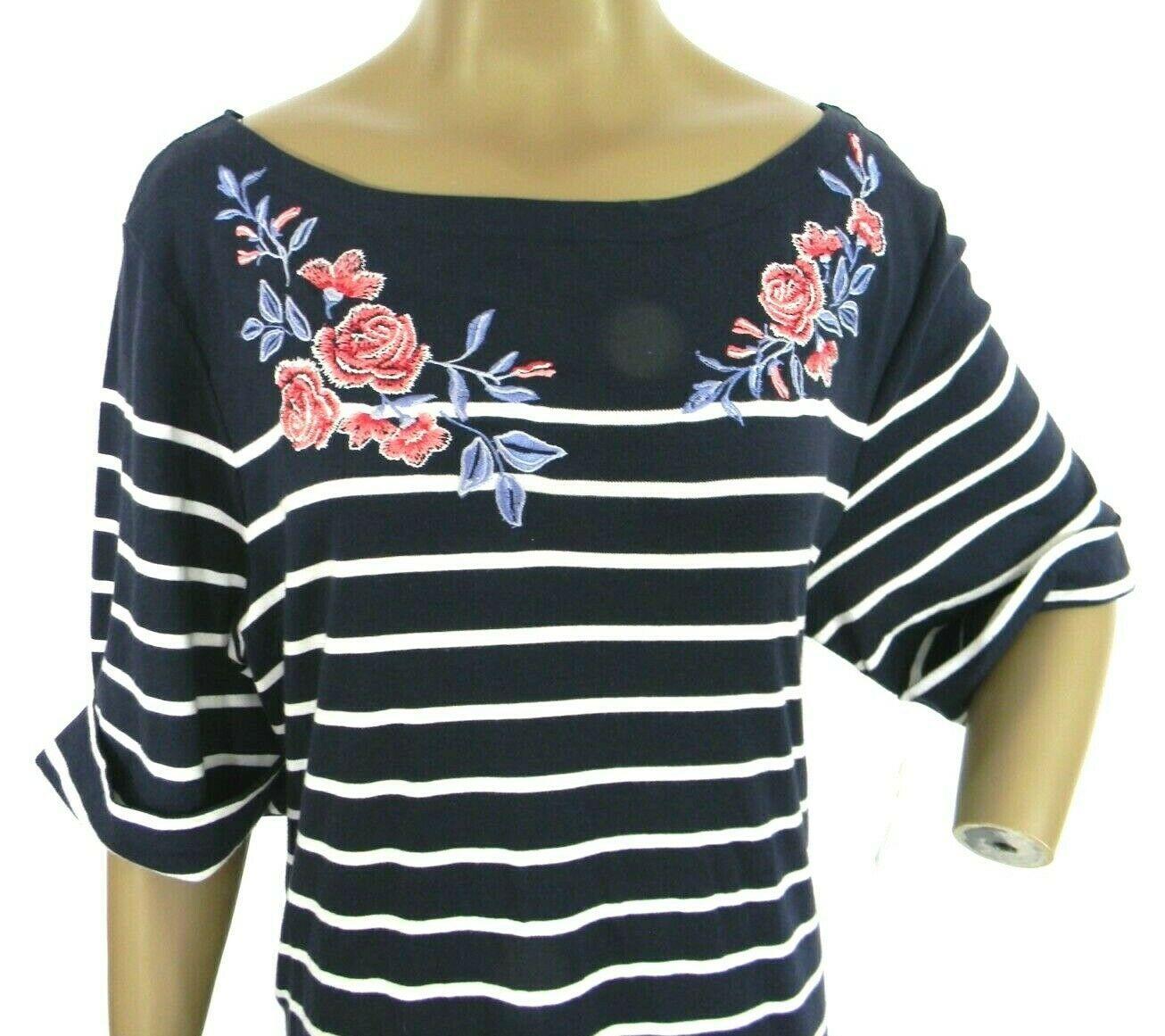 Karen Scott Plus Size 2X,3X Dress Floral Embroidered Striped Shift Dress NEW $54 image 6