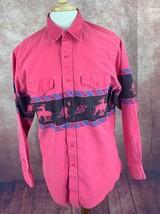 Vintage Wrangler USA Made Pink Denim Shirt Western Native Print Men's 16... - $43.51