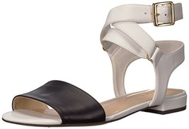 Nine West Women's INCH Synthetic Flat Sandal (7 White/Navy Synthetic) - $56.70